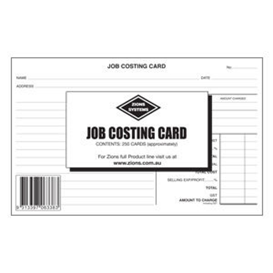 Picture of ZIONS JOB COSTING CARD #JCC